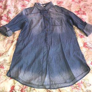 Distressed denim 100% Cotton shirt dress.